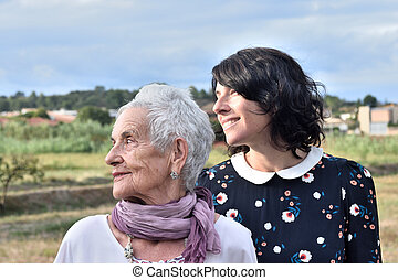 portrait of two women outdoors