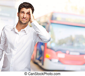 Portrait Of Unhappy Man
