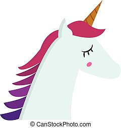 Portrait of unicorn side view  illustration  color  vector on white background
