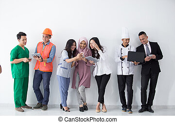 Portrait of various professions with modern technology
