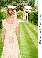 victorian woman in formal garden