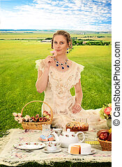 vintage woman at picnic with roses