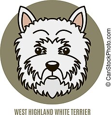 Portrait of West Highland White Terrier. Vector illustration in style of flat