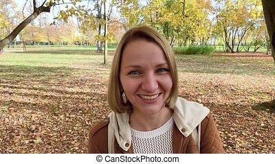 Portrait of woman at park