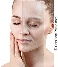 Portrait of woman before and after skin rejuvenation