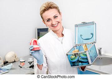 Portrait of woman dentist