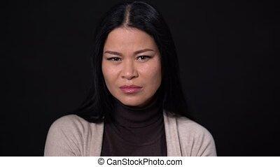 Portrait of woman feeling disgust - Pretty Asian Woman Saw...