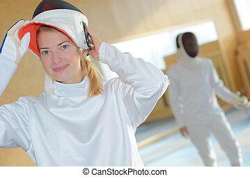 portrait of woman fencer