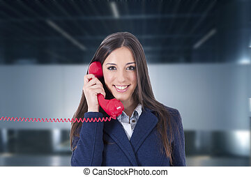 portrait of woman in business with the phone