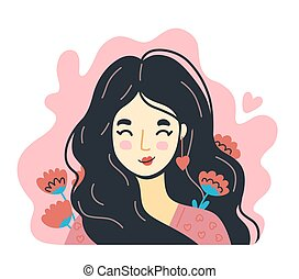 Portrait of woman in love with flowers around on a pink background. Hand-drawn character, face, head, avatar.