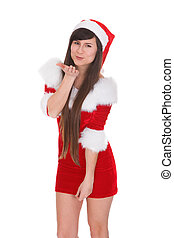 Portrait Of Woman In Santa Clause Costume