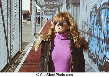 portrait of woman in the city