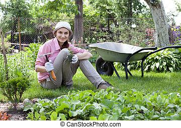 Portrait of woman in the garden