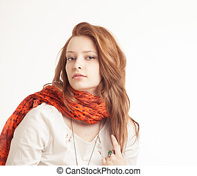 Portrait of woman in vintage clothes on a white background.