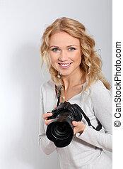 Portrait of woman photographer