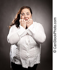woman scared - portrait of woman scared on gray background