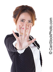 Portrait Of woman Showing Stop