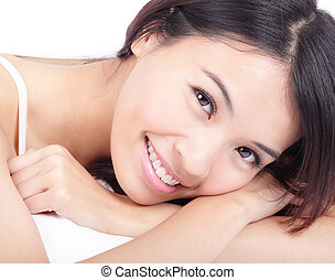 portrait of woman smile face in relax pose