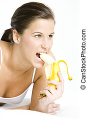 portrait of woman with a banana