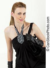 portrait of woman with a handbag