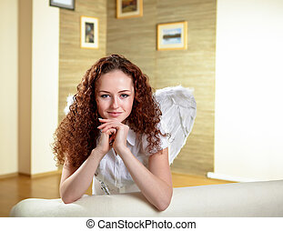 portrait of  woman with angel wings