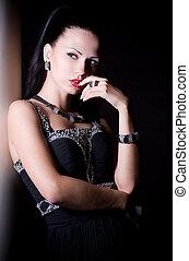 Portrait of woman with bijouterie