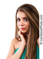 portrait of woman with brown hair on white background