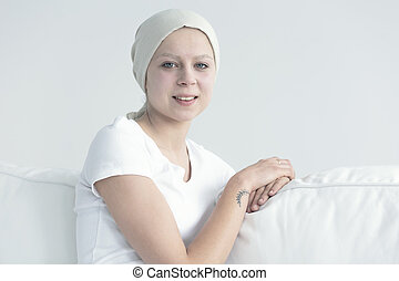 Portrait of woman with cancer