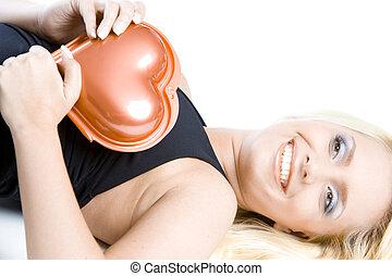 woman with chocolate box