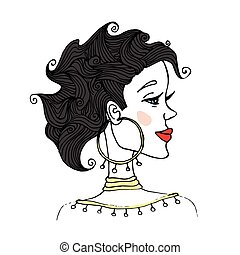 Portrait of woman with curly hair in profile. Vector illustration, isolated on white background.