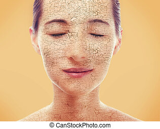 Portrait of woman with dry skin