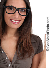 Portrait of woman with funny eyeglasses