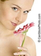 portrait of woman with gerbera