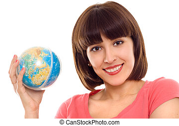 portrait of woman with globe in hands isolated