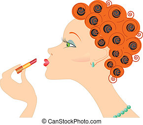 Portrait of woman with lipstick. Make up cosmetic.