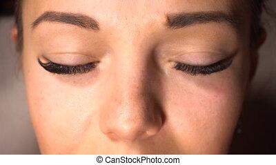 Portrait of woman with long eyelash