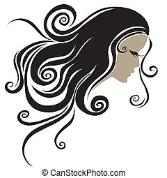 portrait of woman with long hair - Vector closeup grunge...
