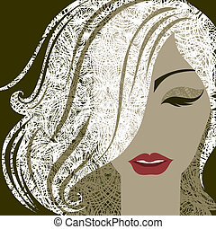 Portrait of woman with make-up - Vector closeup decorative...
