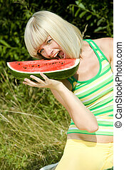 portrait of woman with melon
