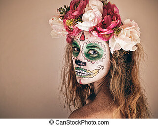 Portrait of woman with scary halloween makeup. - Portrait of...