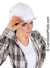 Portrait of woman with white helmet