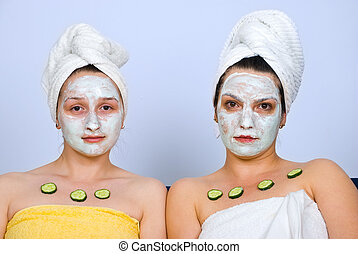 Portrait of women with facial mask