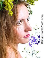 portrait of women with flowers