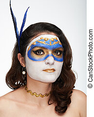 portrait of women with gold mask
