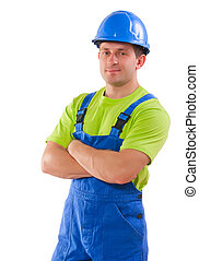 portrait of worker isolaed