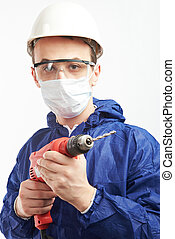 Portrait of worker with drill