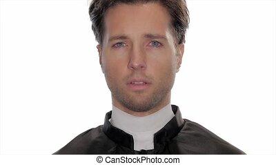 portrait of worried catholic priest