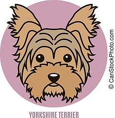 Portrait of Yorkshire Terrier. Vector illustration in style...