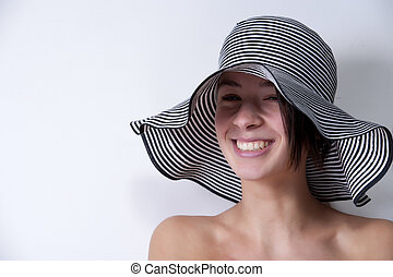 Portrait of you multi etnic girl with summer hat
