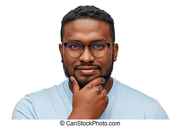 portrait of young african american in glasses
